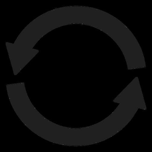 Círculo de dos flechas gruesas