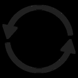 Círculo de dos flechas delgadas
