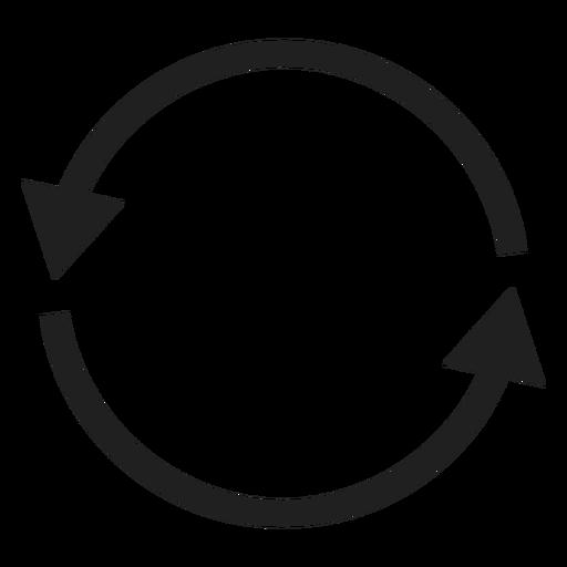 Two thin arrows circle