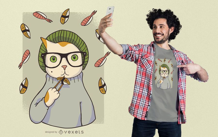 Diseño de camiseta de gato de sushi de hipster