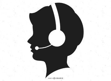 Telefonist-Silhouette
