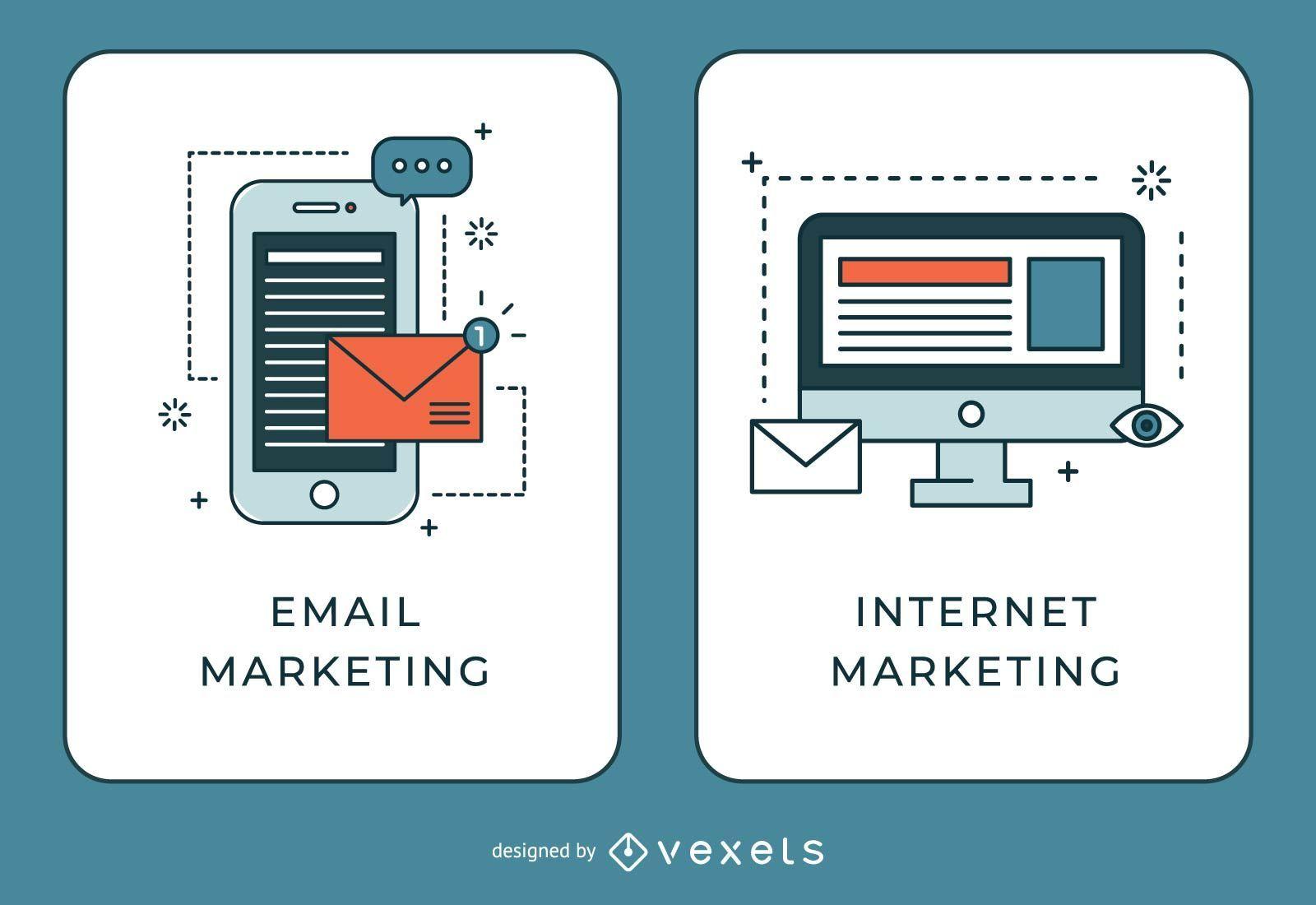 Banners de marketing por correo electrónico e Internet