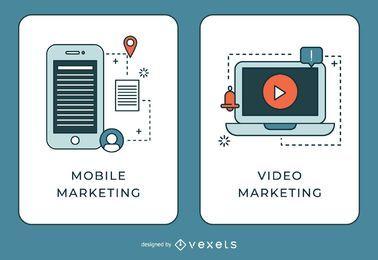 Banner de marketing móvil y video