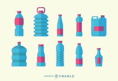 Conjunto de iconos de botellas de agua