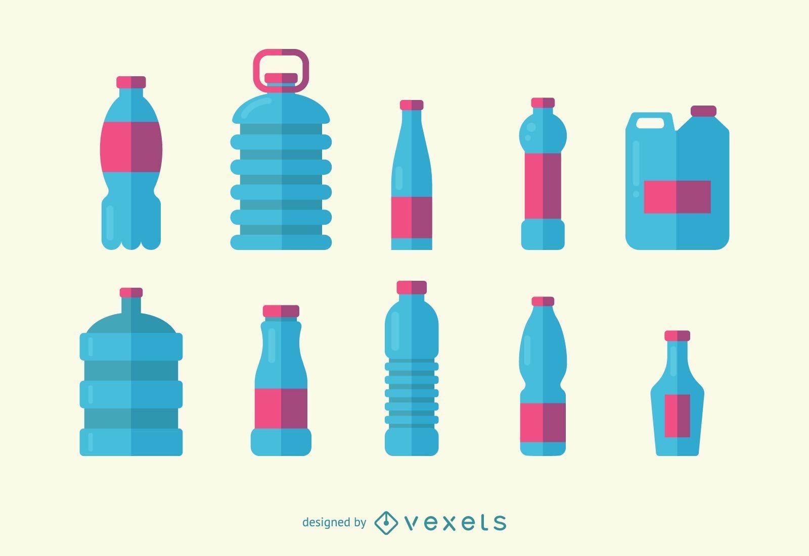 Water Bottles Icon Set