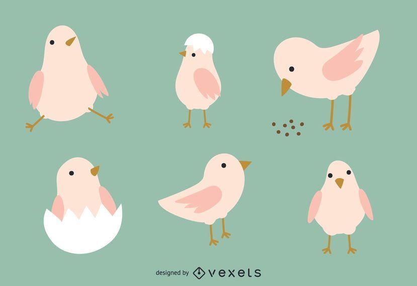 Conjunto de ilustración de pollo