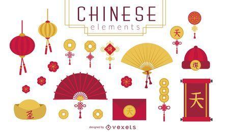 Conjunto de elementos afortunados chinos