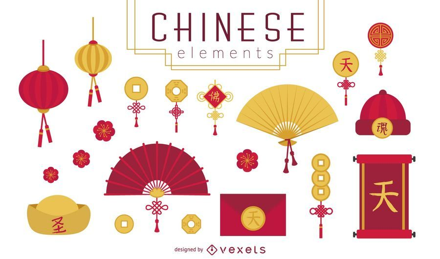 Conjunto de elementos chineses da sorte