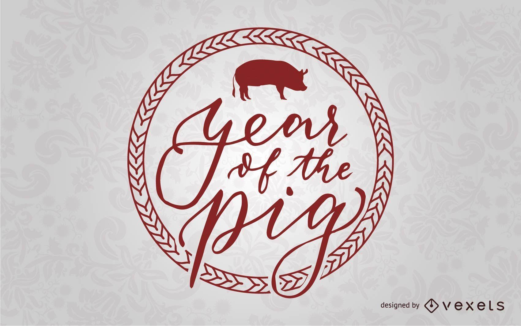 Insignia del a?o del cerdo