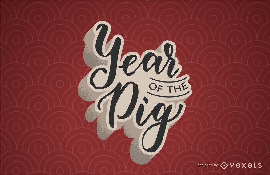 Año del diseño de letras del cerdo