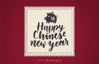 Emblema de feliz ano novo chinês