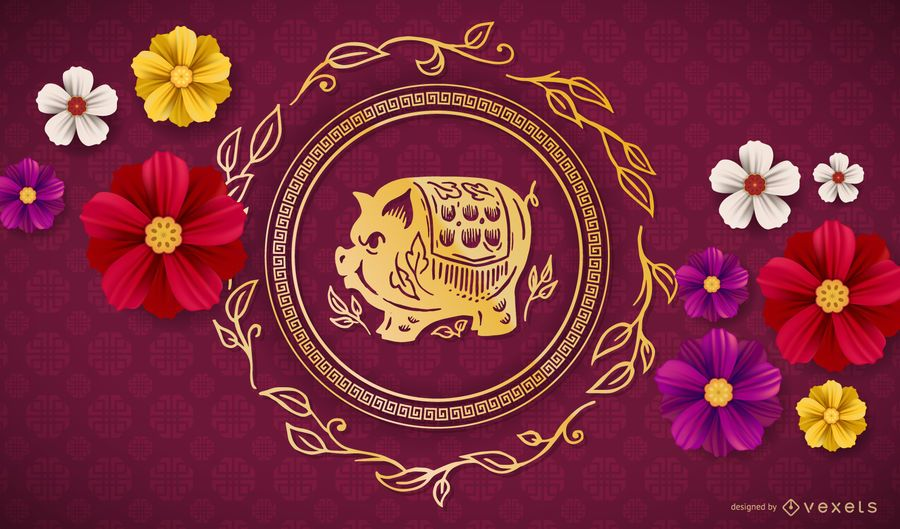 Chinesisches Neujahr mit Blumenmuster