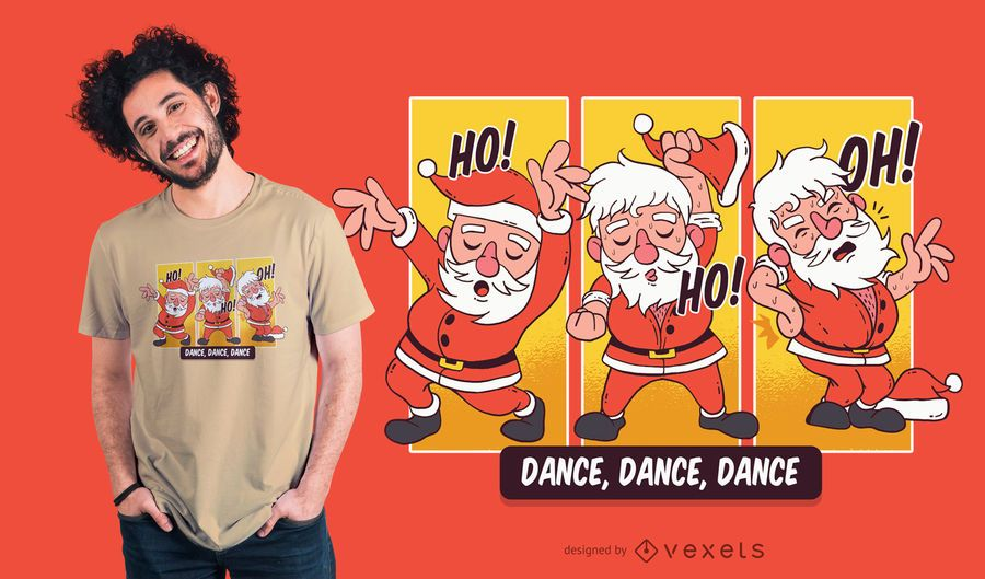 Dancing Santa Christmas T-Shirt Design