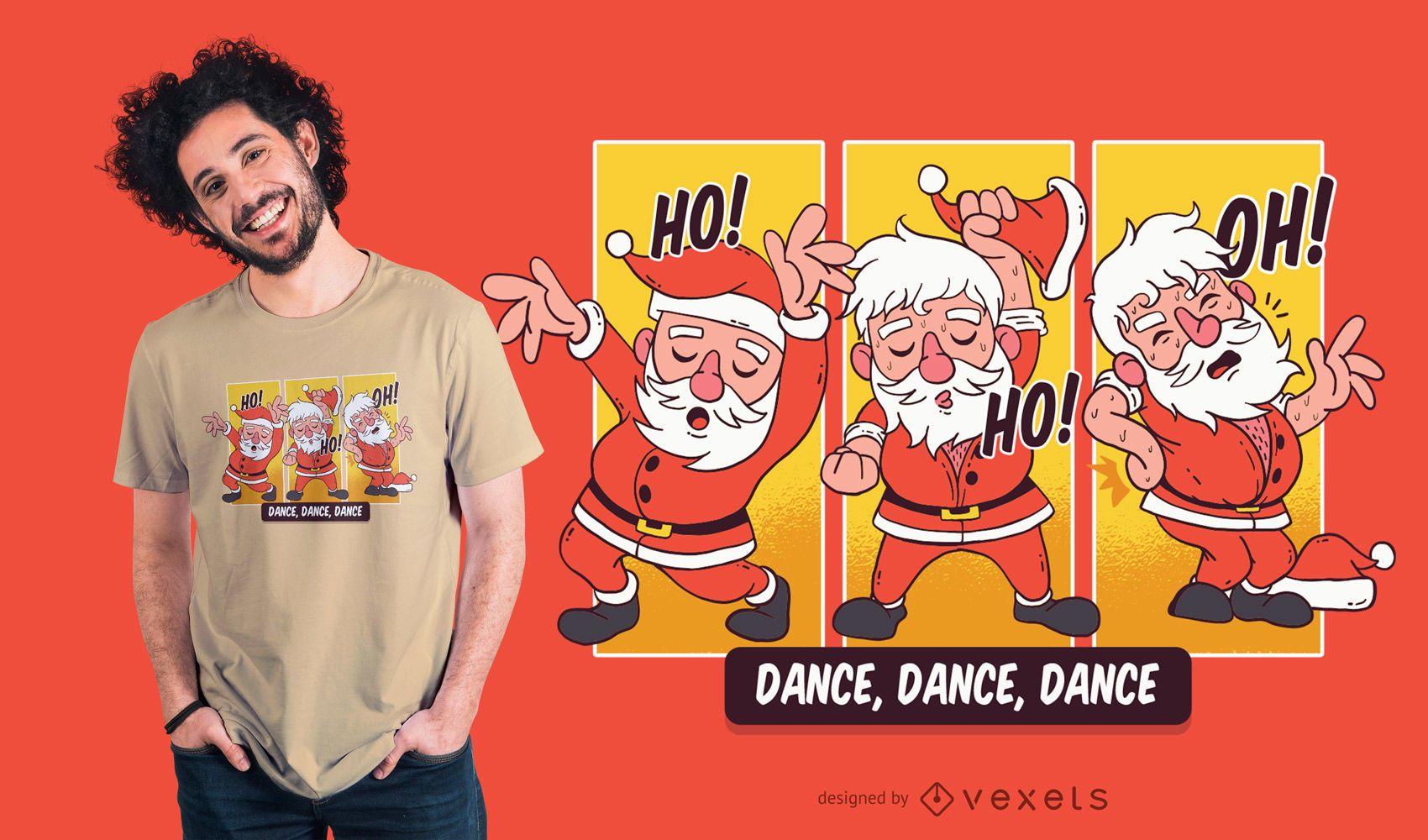 Dancing Santa Christmas T-Shirt Design
