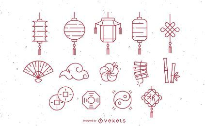 Chinese Stroke Icon Set