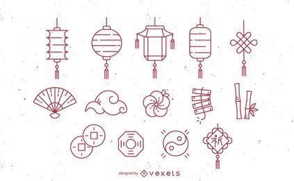 Conjunto de iconos de trazo chino