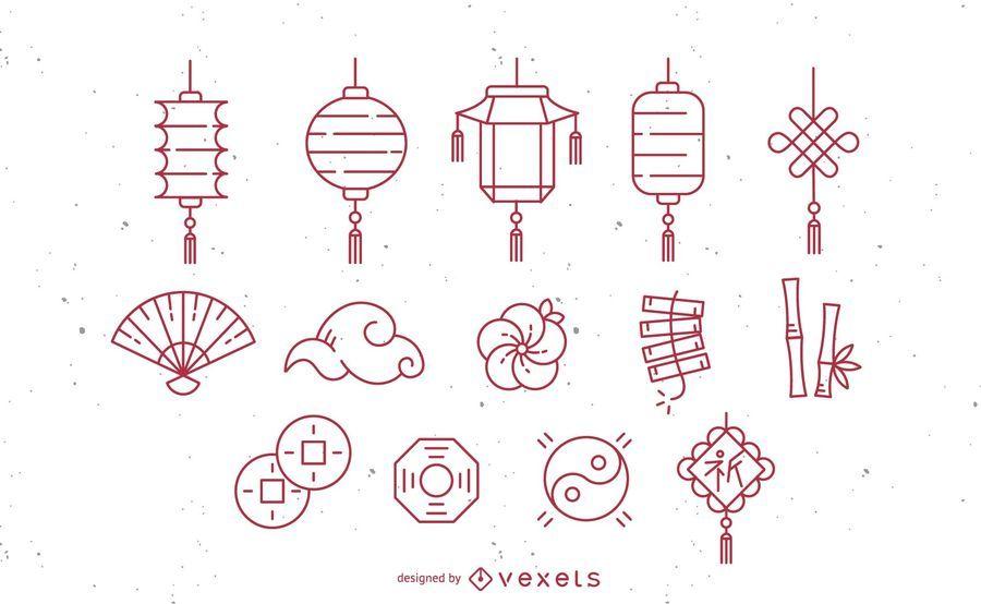 Conjunto de ícones de traçado chinês