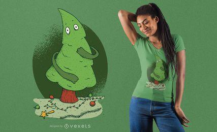Diseño de camiseta de árbol de navidad desnudo