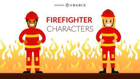 Conjunto de caracteres de bombeiro