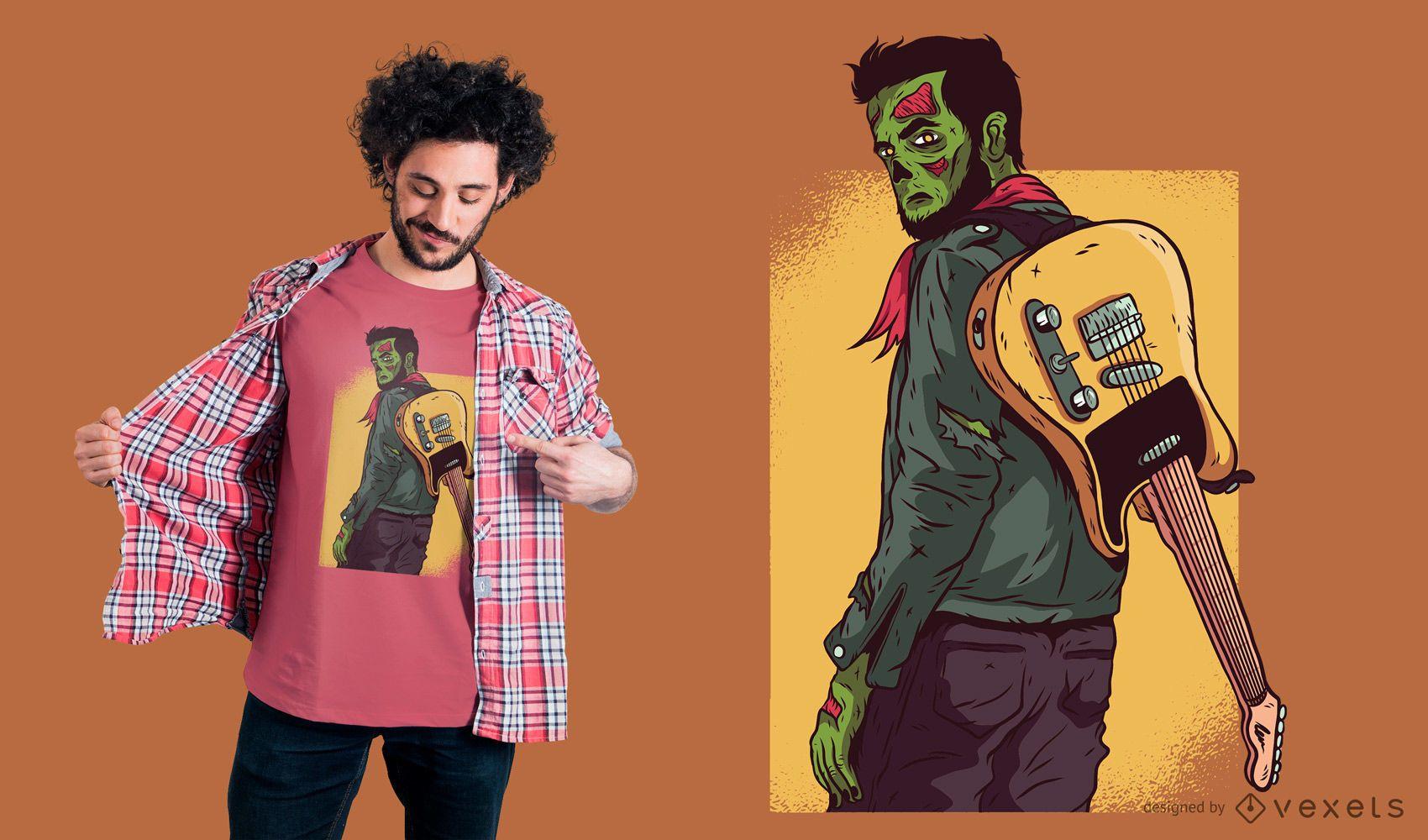 Diseño de camiseta Zombie Guitarist