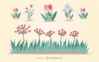 Flor jardín conjunto de vectores