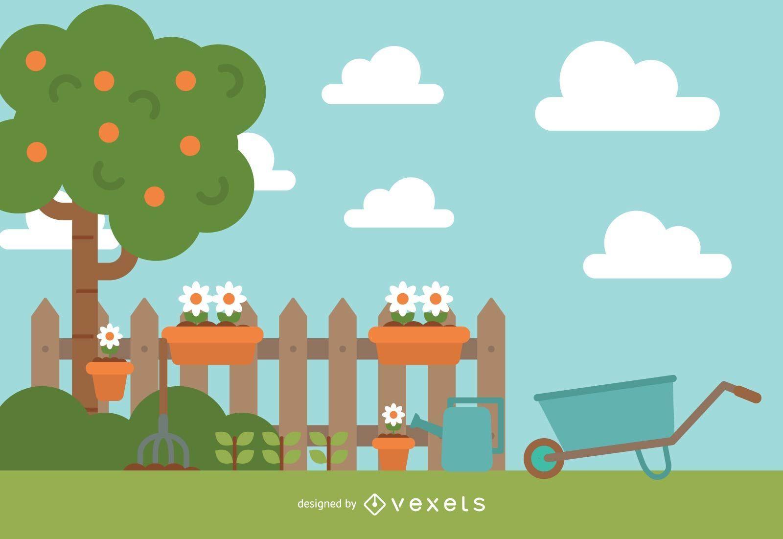 Cute Garden Illustration