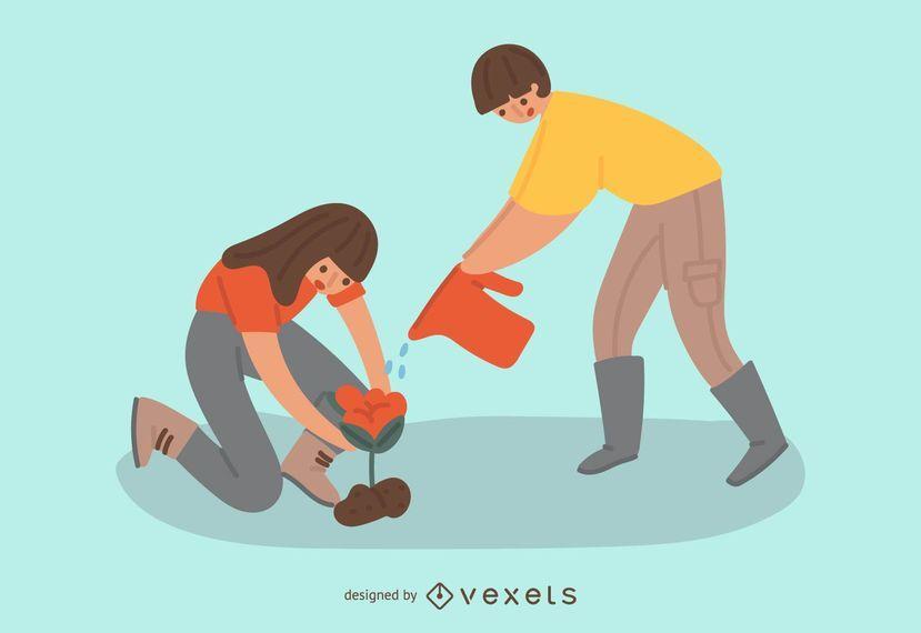 Nette Gartenarbeitleute-Illustration