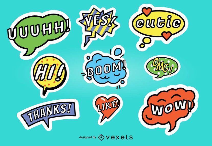 Colorful Speech Bubble Sticker Set