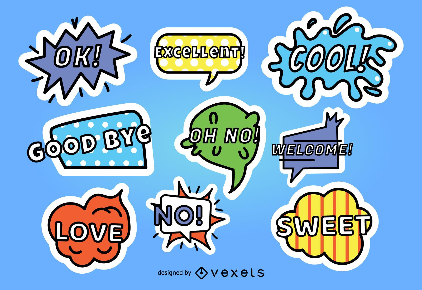 Comic Style Sticker Set
