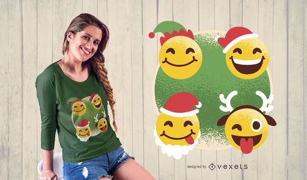 Weihnachten Emoji T-Shirt Design