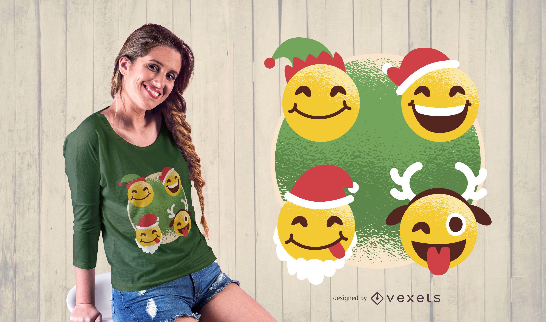 Diseño de camiseta de emoji de Navidad