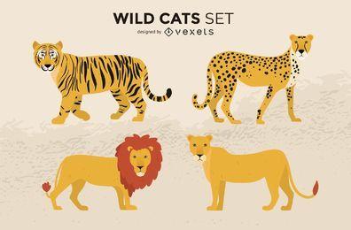 Conjunto de ilustração de gatos selvagens