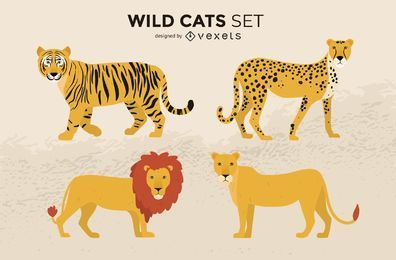 Wildkatzen-Illustrations-Satz