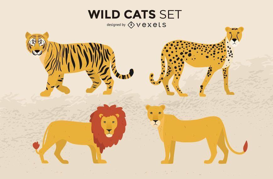 Conjunto de ilustración de gatos salvajes