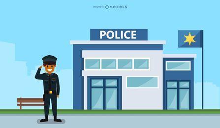 Ilustración de la estación de policía
