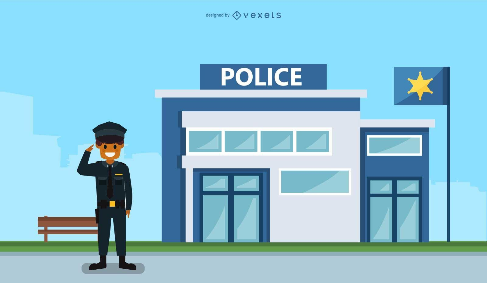 Police station illustration