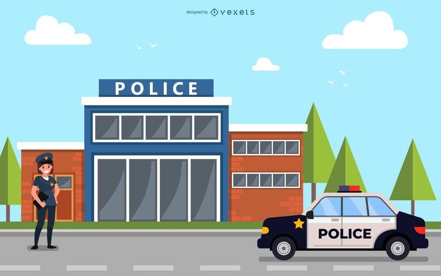 Estación de policía, oficial e iluminación de vehículos.