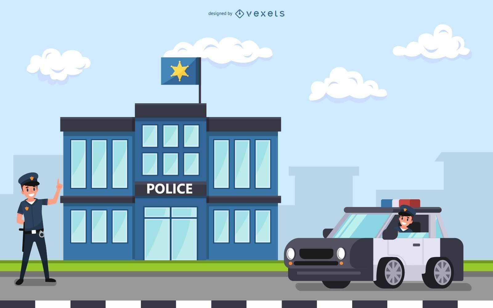 Diseño de ilustración de la estación de policía