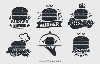 Conjunto de colección de logotipos de hamburguesas