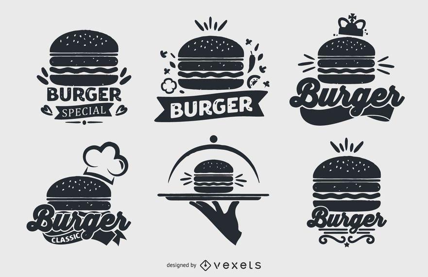 Conjunto de coleta de logotipo de hambúrguer