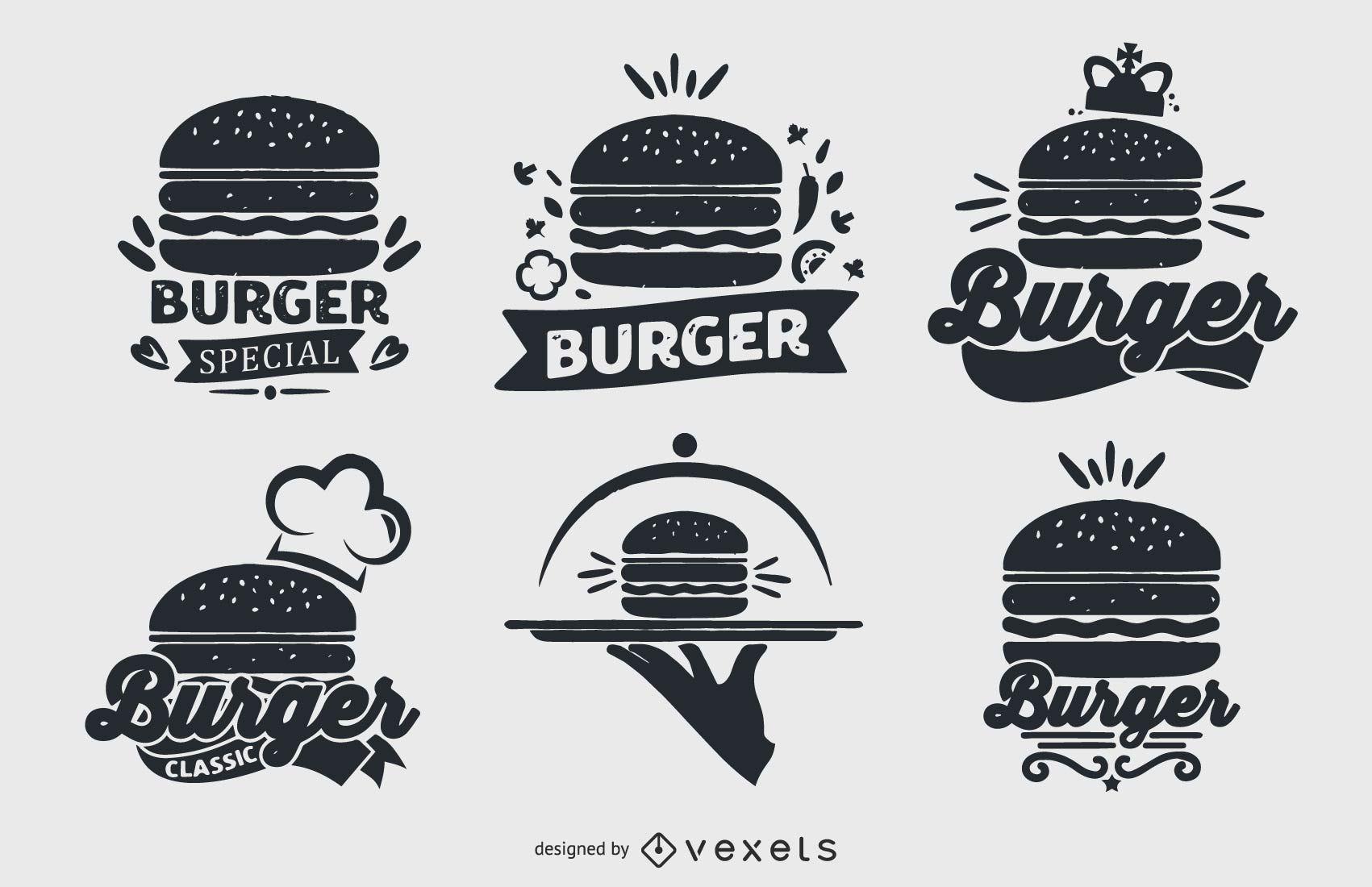 Conjunto de colecci?n de logotipos de hamburguesas