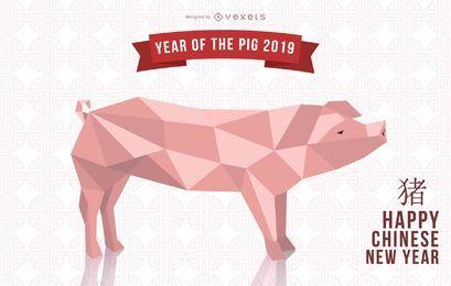 Design do ano do porco 2019
