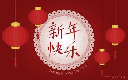 Design de lanternas de ano novo chinês