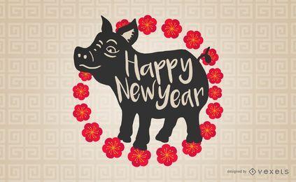 Design de porco de ano novo chinês
