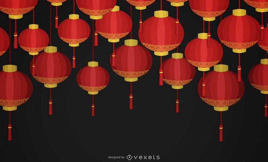 Fondo de linternas de año nuevo chino