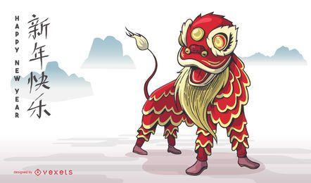 Diseño de danza del león del año nuevo chino
