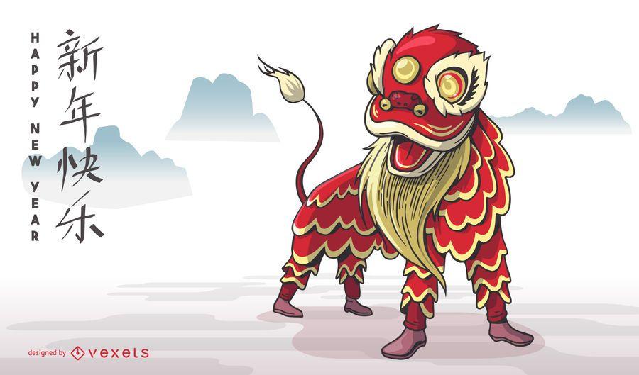 Diseño chino de la danza del león del Año Nuevo