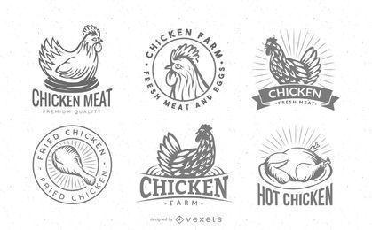 Conjunto de crachá com logotipo de frango