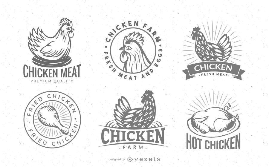 Conjunto de distintivo de logotipo de frango