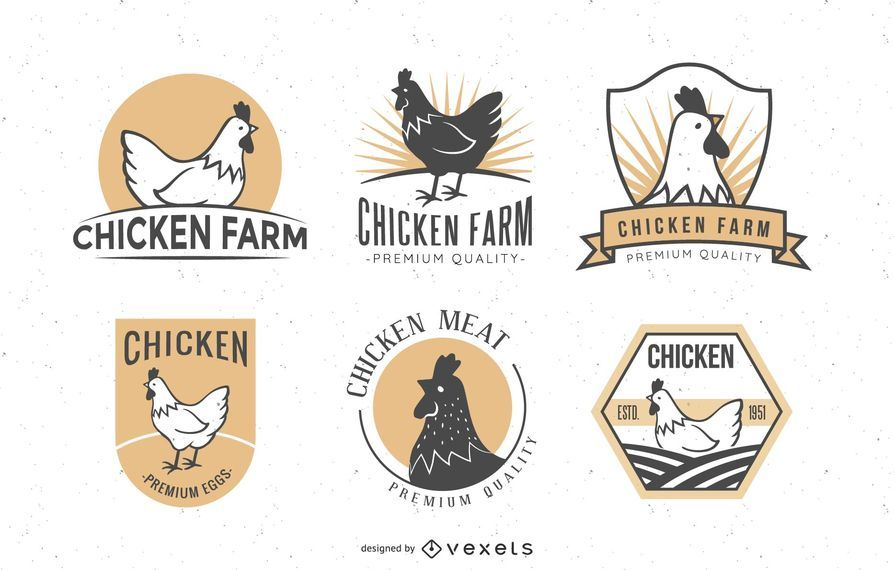 Conjunto de emblemas de frango